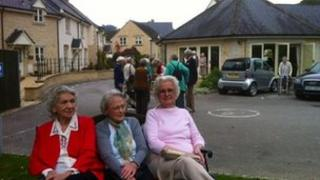 Residents at the new Woodchester Valley village