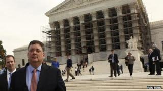 Republican donor Shaun McCutcheon departs the US Supreme Court after his McCutcheon v Federal Election Commission case argument in front of the US Supreme Court in Washington 8 October 2013