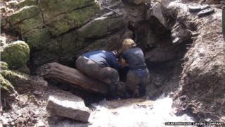 Charterhouse Caving Company volunteers at work in Cheddar Gorge