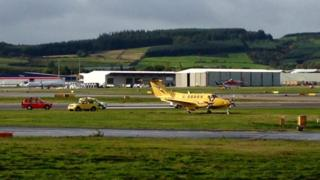 An air ambulance came off the runway at Aberdeen Airport