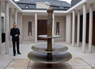 The Bishop of Limburg, Franz-Peter Tebartz-van Elst, stands in the inner courtyard of his residence in Limburg, 3 December 2012