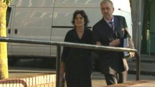 Kay Shaw arriving at tribunal hearing in Cardiff