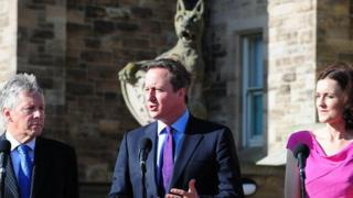David Cameron speaking at Stormont news conference