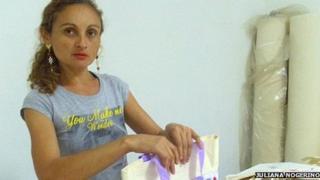 Lucineide do Nascimento in her workshop