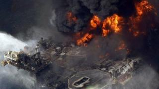 An explosion on the Deepwater Horizon oil rig