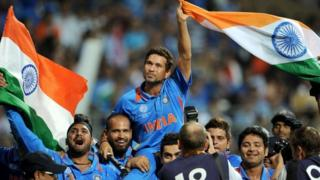 Indian batsman Sachin Tendulkar is carried on his teammates shoulders after India defeated Sri Lanka in the ICC Cricket World Cup 2011 final played at The Wankhede Stadium in Mumbai