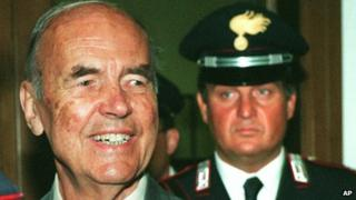 1996 file photo of Erich Priebke at a court in Rome