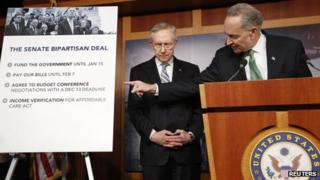 U.S. Senator Charles Schumer (D-NY) (R) and Senate Majority Leader Harry Reid (D-NV) appear at a news conference after bipartisan passage of stopgap budget and debt legislation at the U.S. Capitol in Washington, October 16, 2013.