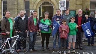 The end of the march at Friends Meeting House