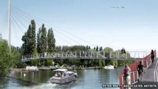 Design for the pedestrian and cycle bridge in Caversham