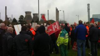 Union members at the Grangemouth plant