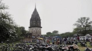 In this Oct 17, 2013 photo, people visit the fort of King Rao Ram Baksh Singh in Unnao in the northern state of Uttar Pradesh in India