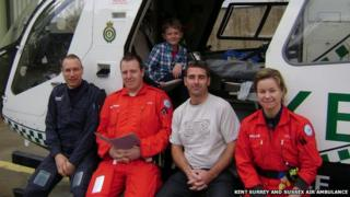 John Crockford and the Kent Surrey and Sussex Air Ambulance crew