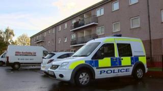 Police van at the scene