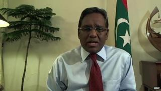 Maldives President Mohamed Waheed interviewed by the BBC in his office