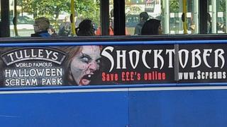 Tulleys Farm Shocktober bus advert