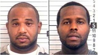 October 2013 Prison booking photos of Joseph Jenkins (left) and Charles Walker (right)
