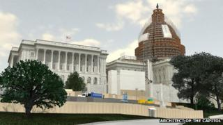 An artist's rendering of the planned restoration of the US Capitol dome