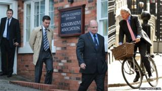 Left panel: Police Federation representatives Ken McKaill (R) Chris Jones (L) and Stuart Hinton; and right panel: Andrew Mitchell