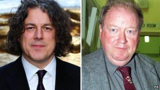 Composite picture of Alan Davies and Lord McAlpine