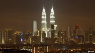 The Petronas Twin Towers in Kuala Lumpur