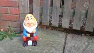 Gnome originally left on John Spratley's driveway