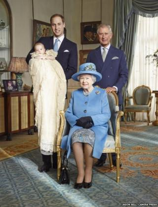 The official portrait for the christening of Prince George Alexander Louis of Cambridge, photographed in The Morning Room at Clarence House in London on October 23rd 2013. PICTURED: Four generations of the British Royal Family photographed together in over a generation: HM Queen Elizabeth II, HRH Prince of Wales and HRH Duke of Cambridge carrying HRH Prince George