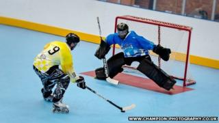 Inline roller hockey players at Solent Arena
