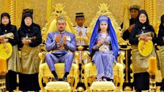 Brunei's Crown Prince Al-Muhtadee Billah Bolkiah and Princess Sarah Salleh during their wedding ceremony in 2004.