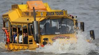 A duck tour boat