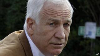 Former Penn State assistant football coach Jerry Sandusky arrives at the Centre County Courthouse in Bellefonte, Pennsylvania 22 June 2012