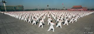 A panoramic view of 10,000 martial arts exponents in Beijing's Tiananmen Square