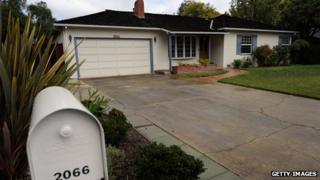 Steve Jobs' childhood house and garage where he and Steve Wozniak created the Apple computer is seen on 6 October 2011 in Los Altos, United States