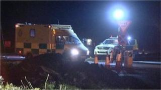 Emergency vehicles at the scene of the A1 crash