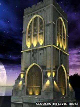 Artist's impression of St Michael's Tower lit up at night