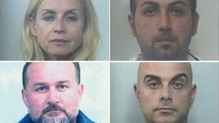 Child abduction suspects arrested by Italian police - clockwise from top left: Larysa Moskalenko, Luigi Cannistraro, Sebastiano Calabrese and Antonio Barazza