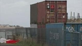 Shipping containers filled with asbestos at La Collette