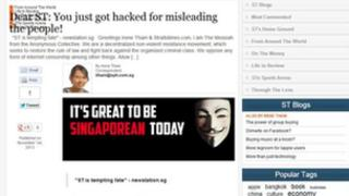A screen shot showing the hacker's message on Straits Times website