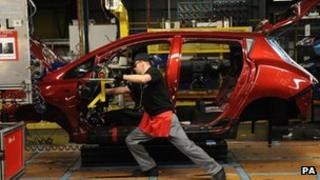 The production line of the Nissan Leaf electric car at the Nissan Plant, Sunderland