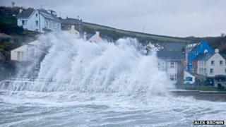 A large wave hits Little Haven, Pembrokeshire