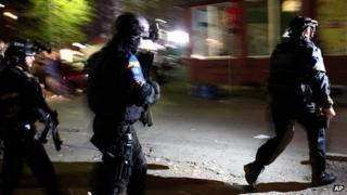 EU police at vandalised polling station in Mitrovica, Kosovo. 3 Nov 2013