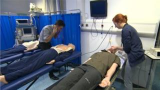 Medical students on training exercise at Queens University School of Medicine