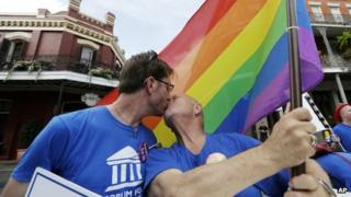 A file photo shows two men kissing during a gay rights rally in New Orleans, Louisiana on 26 June 2013