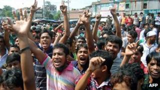 Workers staging a protest in Bangladesh