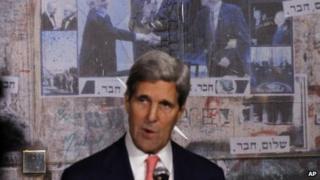 US Secretary of State John Kerry marks the 18th anniversary of Yitzhak Rabin's assassination in Tel Aviv