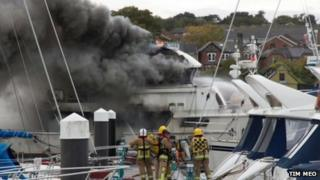 Boat fire at East Cowes