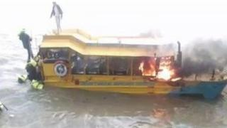 Amphibious landing craft on fire on 29 September