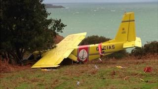 Channel Islands Air Search plane after crash landing in Jersey