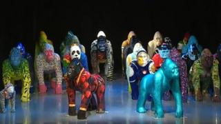 Gorilla statues before auction