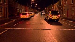 The scene of the arrests in south Belfast
